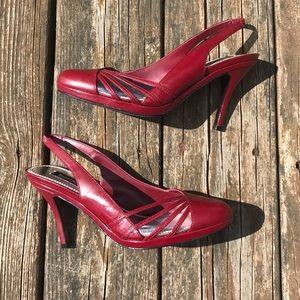 Red 3in sling back heels